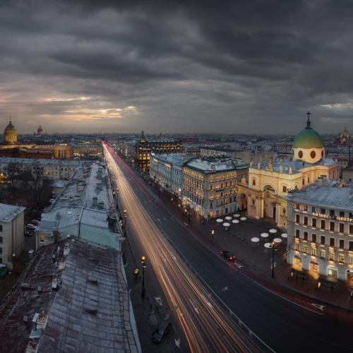 Russia : Saint Petersburg : roofs of the Nevsky prospect