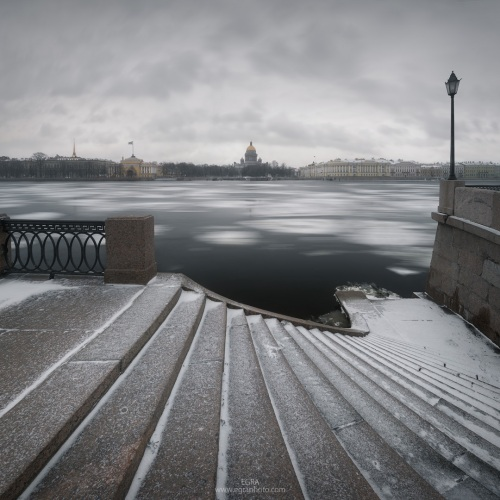 Russia : Saint Petersburg : snow stairs in front of St. Isaac's cathedral